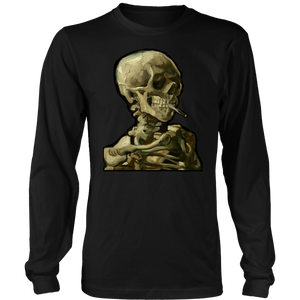Skull of a Skeleton with Burning Cigarette • Design By Vincent Van Gogh • FREE Digital Horror Anthology Included With Purchase!!! - House Of 1000 T Shirts