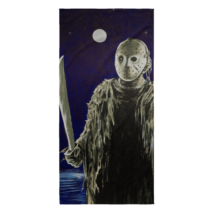 Jason Under Full Moon With Machete From Friday The 13th Part I Beach Towel • Original Design By Joel Shelton • Sport The Beach With This Unique Beach Towel