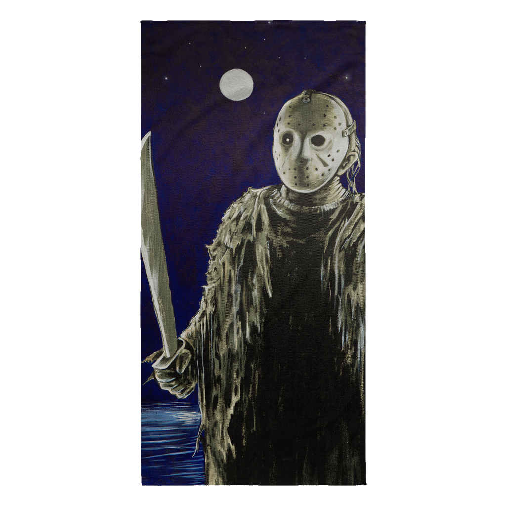 Jason Under Full Moon With Machete From Friday The 13th Part I Beach Towel • Original Design By Joel Shelton • Sport The Beach With This Unique Beach Towel - House Of 1000 T Shirts