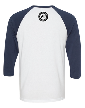 3/4 Sleeve Baseball Graphic Tee White/Navy (Unisex)