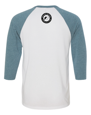 3/4 Sleeve Baseball Graphic Tee White/DenimBlue ( Unisex)