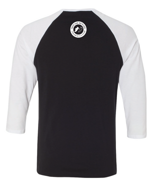 Logo 3/4 Sleeve Baseball  Graphic Tee Black/White (Unisex)