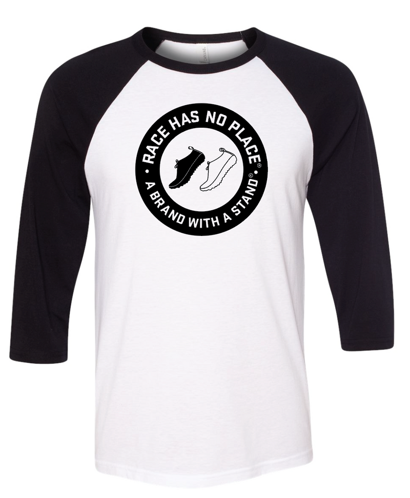 Logo 3/4 Sleeve Baseball  Graphic Tee White/Black (Unisex)