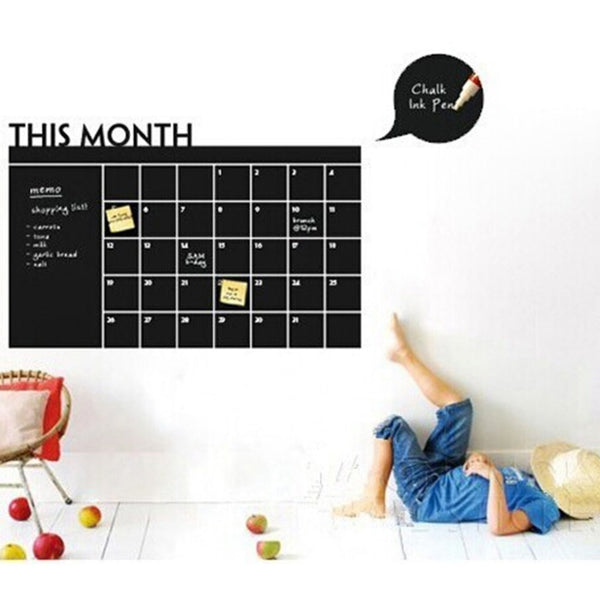 Passion for Diy | Wall Sticker Monthly Plan Calendar Chalkboard Stickers MEMO Blackboard Vinyl Study Room Wall Stickers for kids Room DIY poster