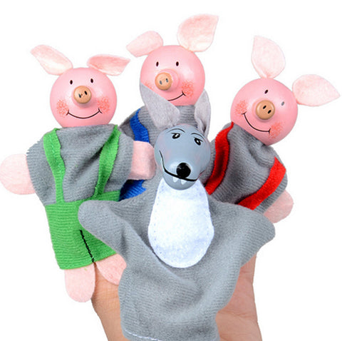 Larrikin Puppets | 4PCS Three Little Pigs And Wolf Finger Puppets toys Hand Puppets Gifts Baby girls boys Finger Puppet toys for children