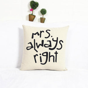 Passion For Romance | High Quality Luxury Brand New Home Cotton Linen Mr/Mrs Pillow Case Waist Throw Home Pillow