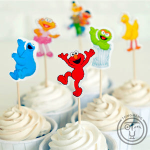 Larrikin Puppets | 24pcs Cartoon Sesame Street Elmo Bert Big Bird candy bar cupcake topper pick fruit picks baby shower kids birthday party supplly