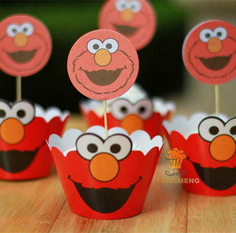 Larrikin Puppets | 48pcs Sesame Street cupcake wrappers&toppers decoration kids baby birthday party supplies AW-0017