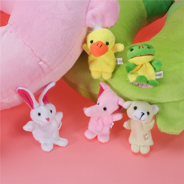 Larrikin Puppets | 10pcs Cartoon Animal Finger Puppets Soft Velvet Dolls Props Toys