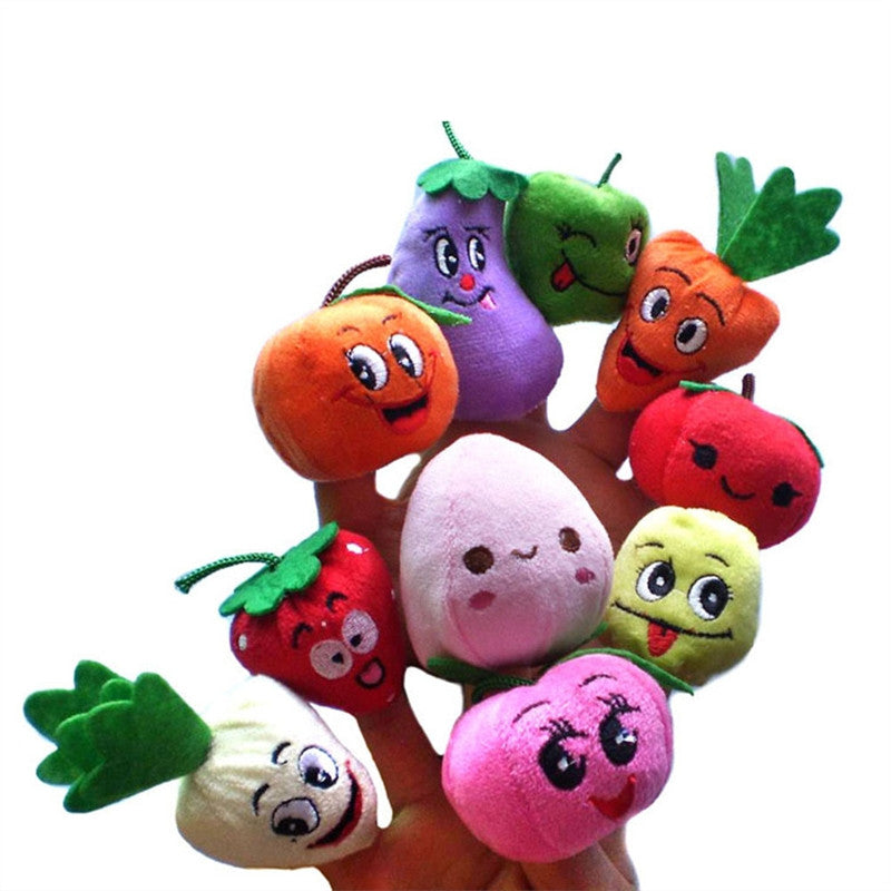 Larrikin Puppets | 10pcs Education Toys Fruits and Vegetables Finger Puppet Plush Child Baby Early Education Toys Gift