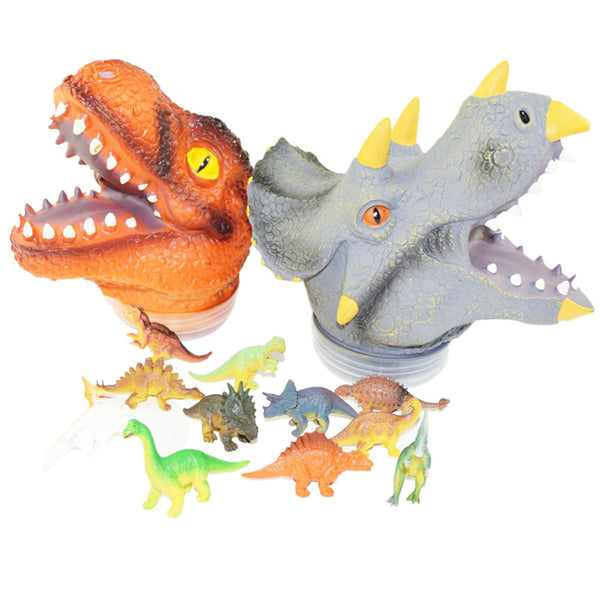 dinosaur Animal Hand Puppet Baby Infant Kid Toy Plush Toys Silica Gel Spoof