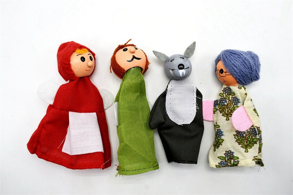 Larrikin Puppets | 4PCS Little Red Hats And Wolves Finger Puppets Hand Puppets Christmas Gifts