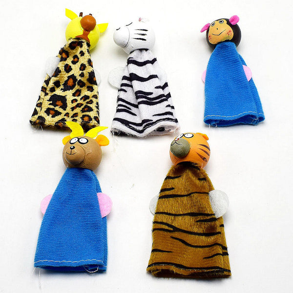 Larrikin Puppets | 5PCS/Set Wooden Animal Finger Puppets Hand Puppets Christmas Gifts