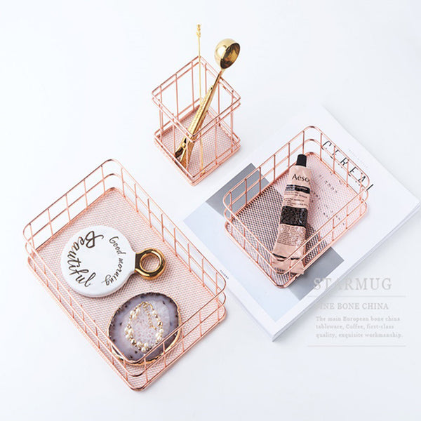 Passion for Work | Wire Metal Desktop Pencil Holder Round Stationery Organizer for Home Office School Use