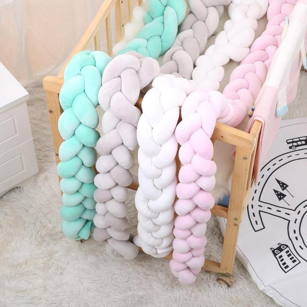 Passion for Parenting | 100cm Newborn Baby Bed Bumper Crib Protector Weaving Knot Bumpers for Baby Kids Safety Bedding Accessories Infant Room Decor