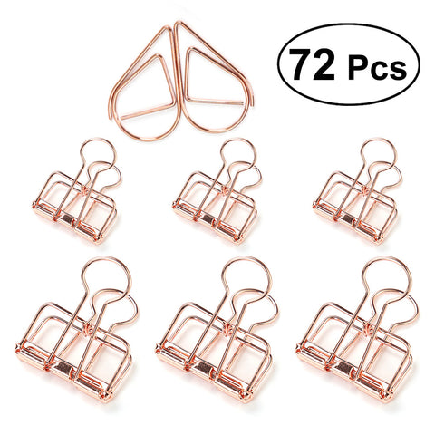 Passion For Work | 72pcs Metal Hollow Binder Clips Organizers Paper Photo Clips for Office Bill File Small and Middle Size
