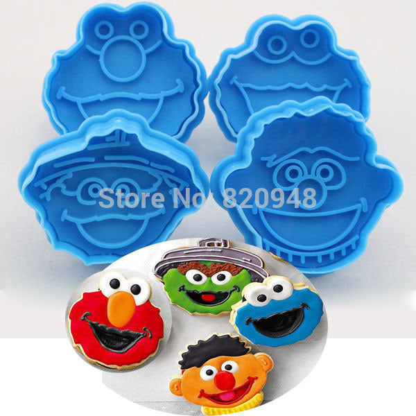 Cake tool 4pc set Muppet Cookie Cutter Plunger Biscuit Cookie Cake Tool Fondant Elmo Ernie Monster