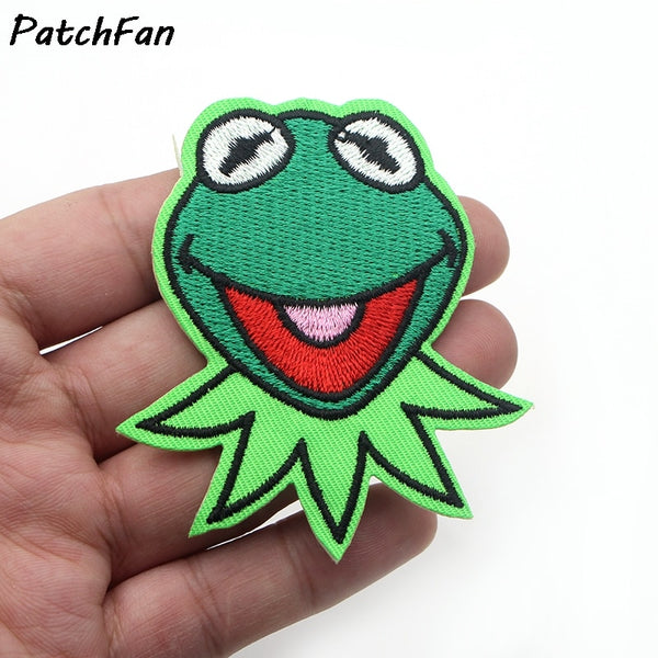 Larrikin Puppets | A0117 Kermit the Frog Face Patch Muppets Show Character Craft Apparel Iron-On Applique