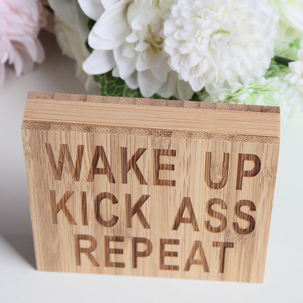 Passion for Decor | WAKE UP KICK ASS REPEAT Block Sign Plaque Decorative Words Block Sign for Home Office Party Decoration
