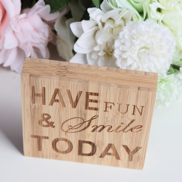 Passion For Decor: HAVE FUN & SMILE TODAY Block Sign Plaque Decorative Words Block Sign for Home Office Party Decoration