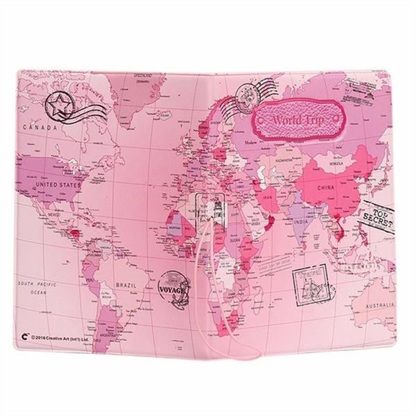 World Map Style Passport Protective Cover Case for Travel Documents Cards Ticket Holding (Pink)