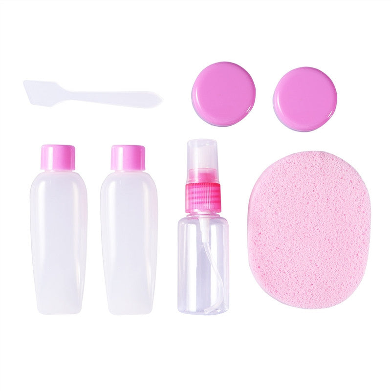 Passion for Travel | Makeup Washing Supplies Empty Refillable Bottles Set for Travel Or On Business(Pink)
