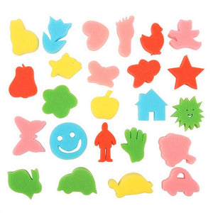 Passion for Diy | 24pcs Colorful Kids Children Crafting Painting Sponge DIY Stamps (Random Pattern)