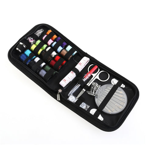 Passion for Travel |  58pcs Travel Sewing Kit Needles Thread Scissors Set with Blue Zipper Bag Home Travel Campers Emergency Premium Gift (Black)