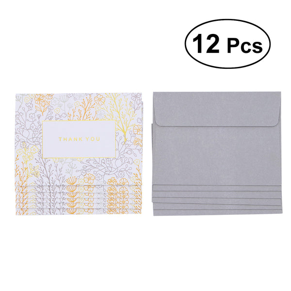 Passion For Giving: 12PCS Gilding Fodable Thank You Card Set Greeting Card Set including 6 Envelopes 6 Cards Medium