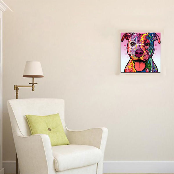 Passion For Pets | Colorful Dog  Oil Painting Watercolor Painting Photo Print Canvas Unframed