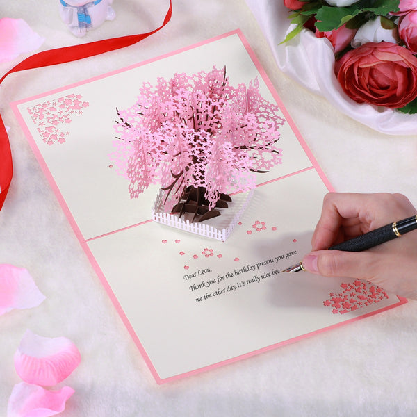 Passion For Giving | Sakura Pop Up 3D Thank You Flowers Cherry Blossom Greeting Card With Envelope