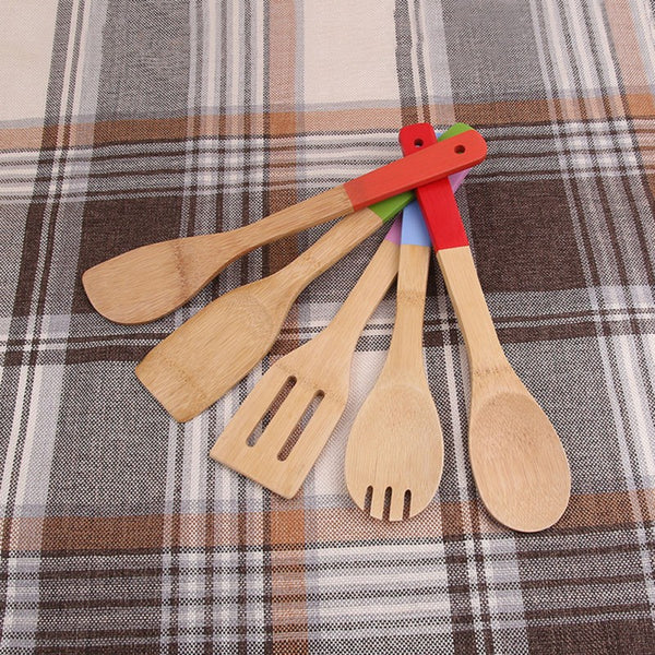 Passion For Cooking | 5PCS Eco-friendly Bamboo Cooking Spatula Kitchen Utensil Set with Multi-Color Handles