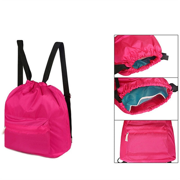 Passion for Travel | Drawstring Backpack Waterproof Outdoor Sports Backpack for Traveling (Rose Red)