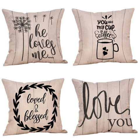 Passion For Romance | 4Pcs Happy Valentine's Day Throw Pillow Case Sweet Love Square Cushion Cover