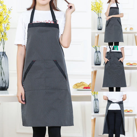 Passion For Cooking | Women Stripe Cooking Chef Kitchen Restaurant Bib Apron Dress Pocket Apron