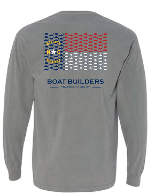 Boat Builders Trading Co. - NC Tuna Flag Long Sleeve Grey