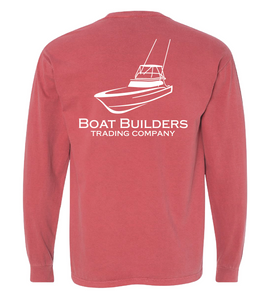 Boat Builders Trading Company Sportfisher Logo Long Sleeve Shirt - Coastal Red