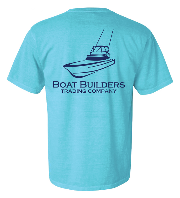 Boat Builders Trading Company Sportfisher Logo short sleeve shirt - Hull Blue