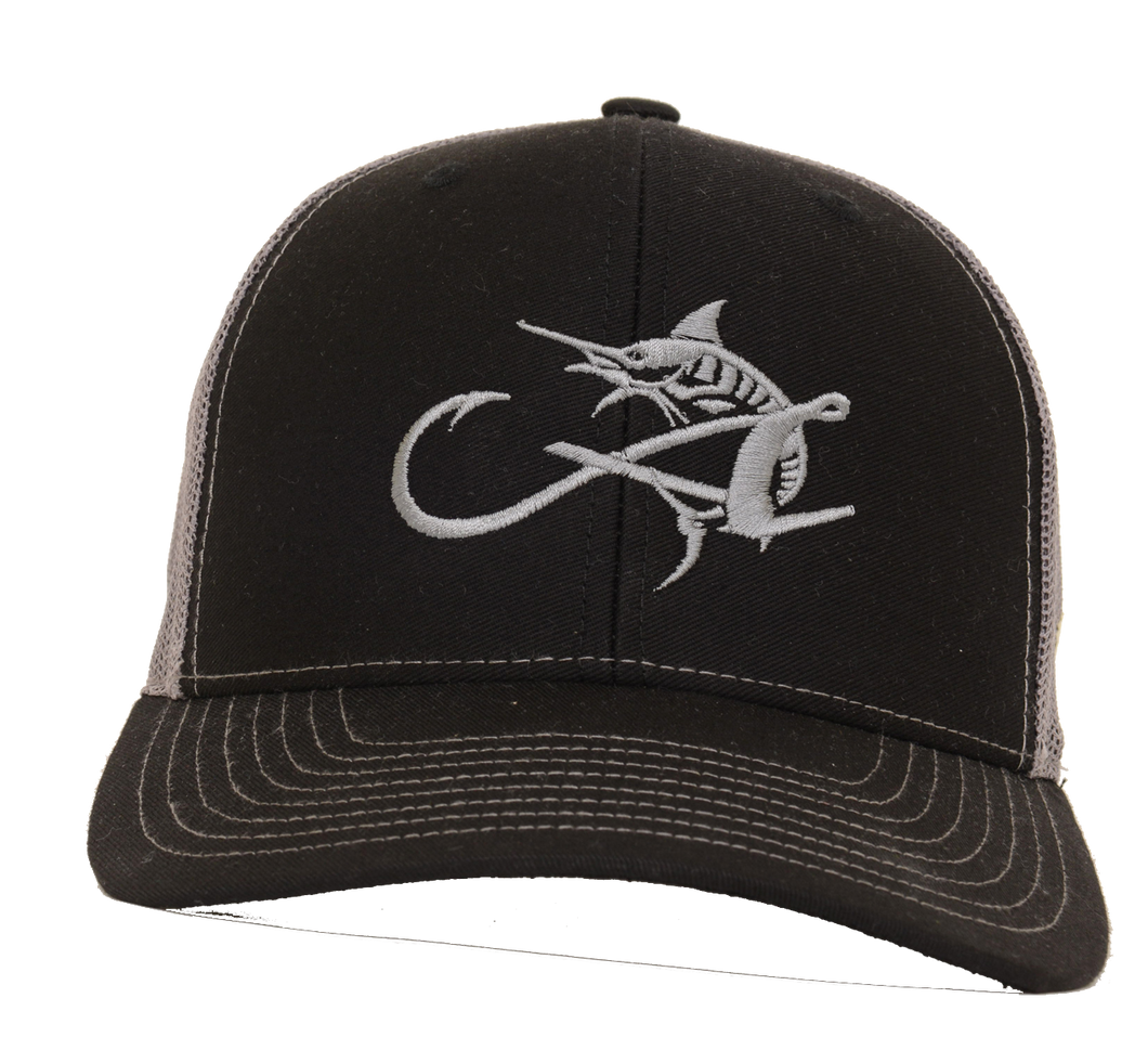 Albemarle Boats Trucker hat Black with Silver hook and fish