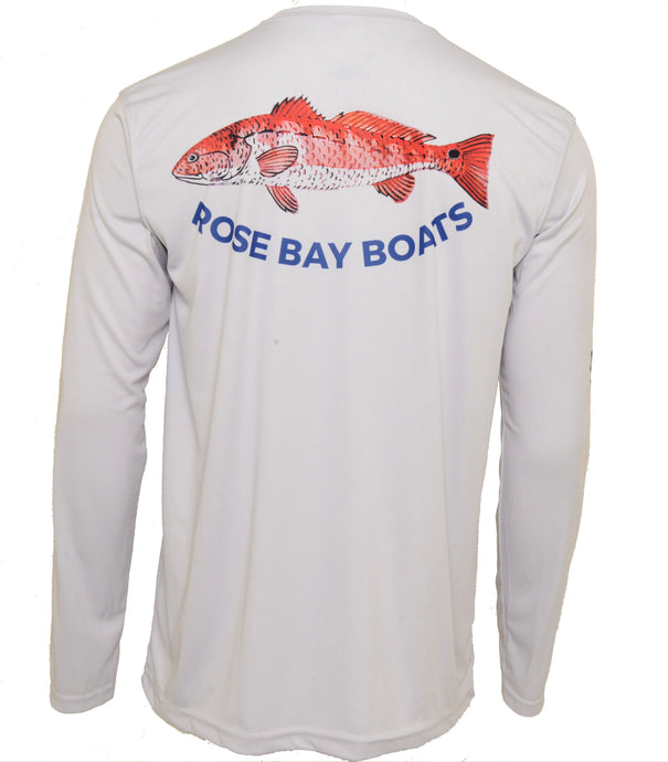 Rose Bay Boats Redfish Performance Shirt - Pearl Grey