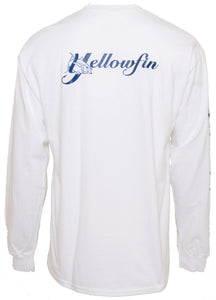 Yellowfin Cotton Logo Long Sleeve T-Shirt - White