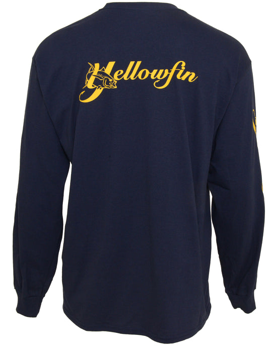 Yellowfin Cotton Logo Long Sleeve T-Shirt - Navy