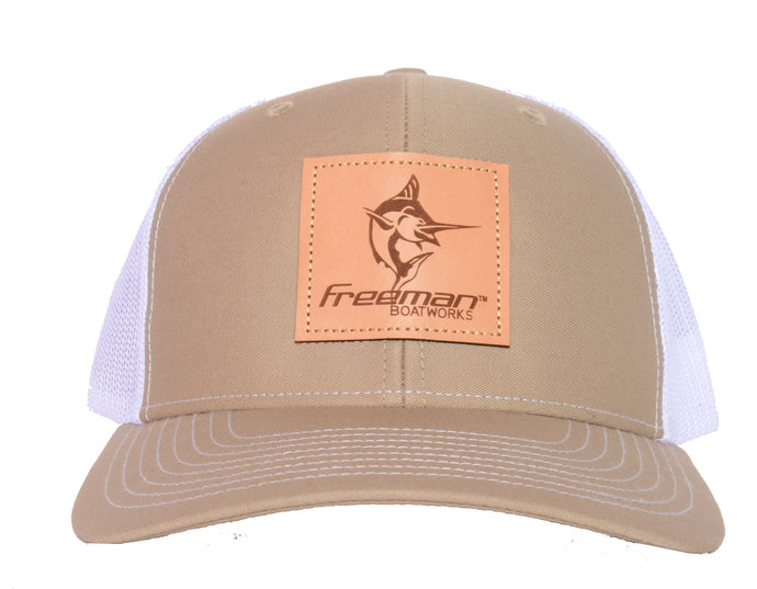 Freeman Boatworks Leather Patch Trucker - Khaki/White