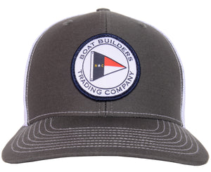Boat Builders Trading Co. NC Flag Patch Structured Trucker Hat - Charcoal/White
