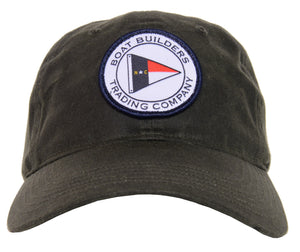 Boat Builders Trading Co. NC Flag Patch Waxed Cotton Hat - Dark Olive Green
