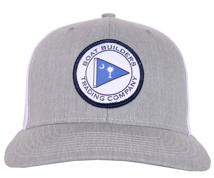 Boat Builders Trading Co. SC Patch Structured Trucker Hat - Heather Grey/White
