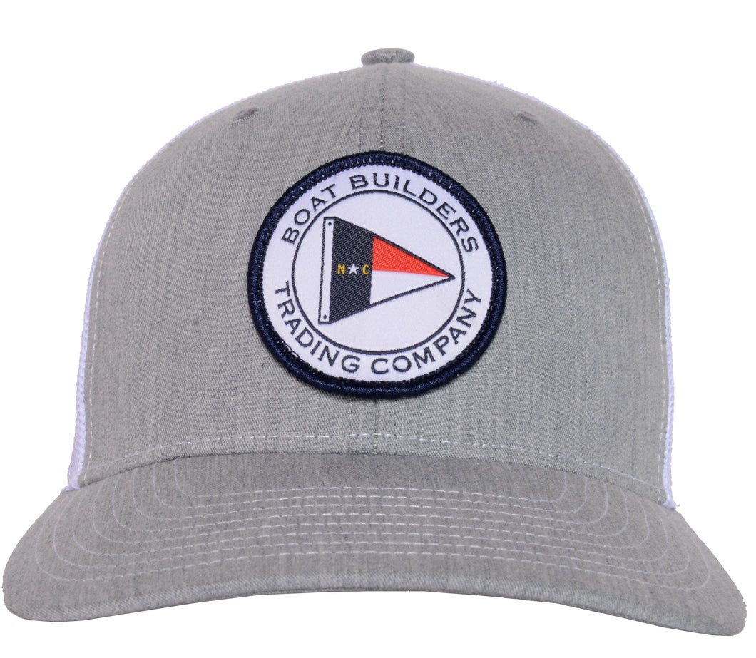 Boat Builders Trading Co. NC Flag Patch Structured Trucker Hat - Heather Grey/White