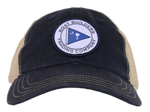 Boat Builders Trading Co. SC Flag Patch Unstructured Trucker Hat - Navy/Khaki