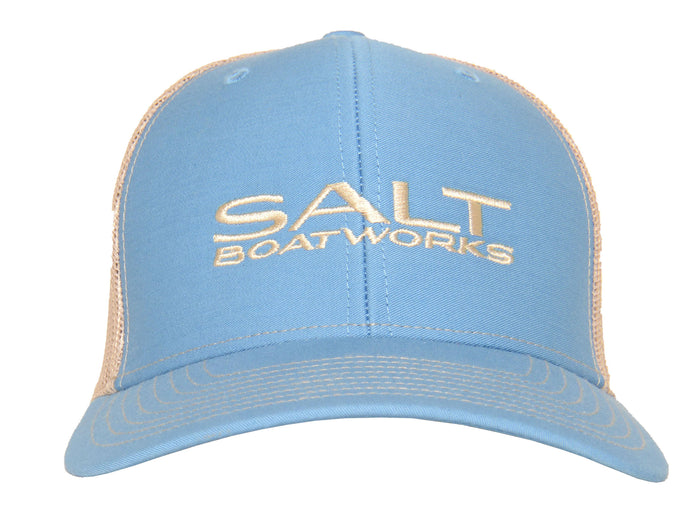 Salt Boatworks columbia blue hat with khaki mesh