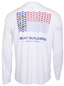 Boat Builders Trading Co. NC Tuna Flag Performance Shirt - White
